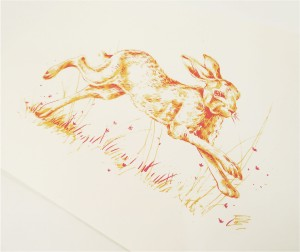 Screenprinted Hare